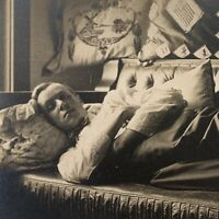 Antique RPPC Photograph Postcard Very Handsome Young Man Laying Couch Gay Int