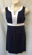 Regatta Petite Size 16 Dress Cotton/Linen Navy Empire Waist Work Smart Casual
