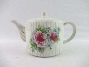 Vintage Ellegreve Ironstone Teapot England Pink Roses Gold Gild