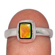 Genuine Ammolite - Canada 925 Sterling Silver Ring Jewelry s.7.5 AR141777