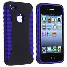 Hybrid Ribbed Case for iPhone 4 / 4S - Yellow/White