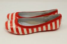 BANDOLINO RED STRIPE SYNTHETIC BALLET FLATS SIZE 6