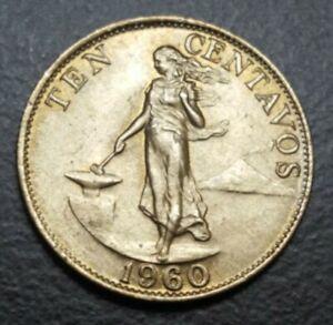 1960 PHILIPPINES 10 CENTAVOS COIN KM 188