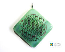 Flower of Life pendant, sparkling green glass, statement necklace, large pendant