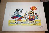 Surfer Dog Cat Corbett Laguna Beach 1997 Signed Art California Quirky Colorful