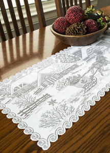 """Heritage Lace 14""""x 40"""" SLEIGH RIDE Christmas White Table Runner  - Made in USA!"""