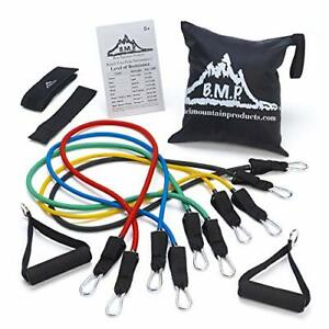 Black Mountain Products Resistance Band Set with Door Anchor Ankle Strap Exer...