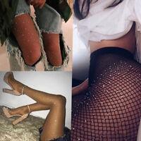Women Sexy Rhinestone Decor Fishnet Elastic Stockings Fish Net Tights Pantyhose