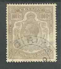 CEYLON SG321 THE 1912-15 GV 100r GREY BLACK USED ,DUBIOUS CANCEL C.£2750 AS MINT