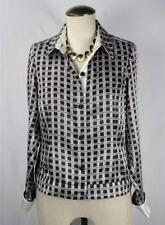 PRESTON & YORK  Career 100% Silk Long Cuff Sleeve Shirt Neck Top Bloue Size 10P
