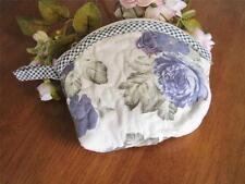 Beautiful Blue Rose Cotton Quilted Zipper Makeup Bag Pouch A5