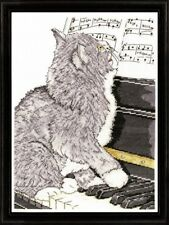 "Design Works Counted Cross Stitch Kit PIANO CAT 10"" x 14"""