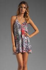 Alice + Olivia Fierra Y-Back silk tank micro mini dress tropical print top Sz S