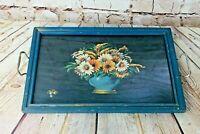 "Vtg Floral Design Blue Wooden Serving Tray under glass w Metal Handles 18"" x 11"""