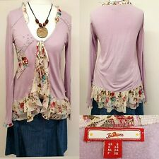 Joe Browns Womens Top Size 8 Lilac Floral Ruffle Draped Tie Front Boho Hippie