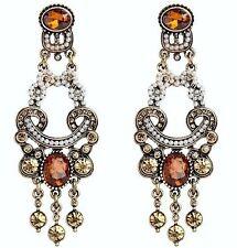 VINTAGE Oro Brown cristallo grande dichiarazione Stud penzolare orecchini lampadario UK SH