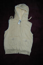 New Tan Zip Front Hooded GAP Vest w/Thick Faux Fur Lining Small