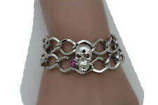 Women Bracelet Silver Metal Wrist Chain Skeleton Skull Pink Rose Flower Bangle