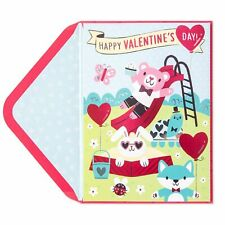Papyrus Valentine's Day Card - Play Yard Memory Game - animals slide butterfly