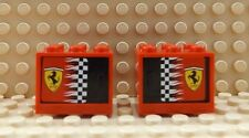 2 LEGO Cupboard Container Box Red With Checkered Flag & Ferrari Logo 4532/4533