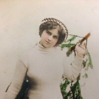 VTG RPPC Postcard Christmas Tree Pretty Girl Hand Colored Real Picture GERMANY
