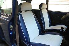 Liners Sièges Voiture sur Mesure Mini Rover - Cuir Artificiel Blanche - Bleu'