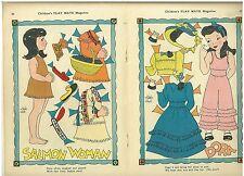 Vintage 1940s 2 Paper Dolls by Artist Elaine Ends - Un-Cut Salmon Woman & Dora