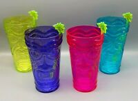 Tiki Style Plastic Party Cups with Palm Tree Stir Sticks~Set of 4~Vibrant Colors