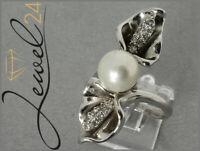 Cocktail-Ring echt Silber 925 Sterling rhodiniert Diamonique und Perle 57/18,1MM