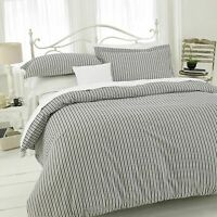 STRIPE DUVET QUILT BEDDING SET 100% POLLY COTTON WITH PILLOWCASES DOUBLE SIZE
