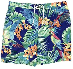 Men's POLO RALPH LAUREN Tropical Jungle Parrot Swimsuit Swim Trunks 2XB NWT NEW