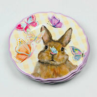 Easter Bunny Rabbit and Butterflies Melamine Dinner Plates Set of 4