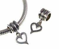 Rhona Sutton 925 Sterling Silver dangle OPEN HEART European charm bead, love