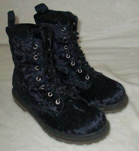 Womens Arizona Blue Velvet Lace Up Boots Sz 6 1/2 faux suede combat moto