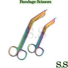 """Premium 2 Lister Bandage Nurse Scissors -7.25""""+5.5"""" Multi Titanium Color Rainbow"""