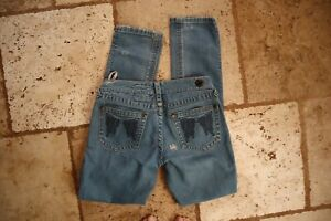 Blue Denim FREE PEOPLE Straight Leg  Distressed Jeans w/Embroidered Wings 26