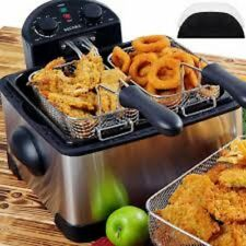 Secura 1700-Watt Stainless-Steel Triple Basket Electric Deep Fryer with Timer Fr