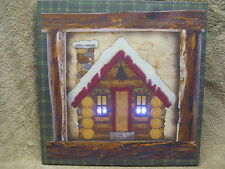 Log Cabin Woods Snow Lighted Canvas Wall Decor Sign NEW LIGHTS UP Beautiful
