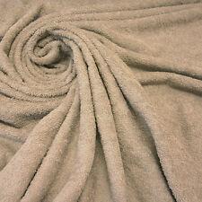 Stoff Meterware Baumwolle Frottee Frotté doppelflorig beige sand kitt weich Neu