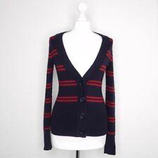 Tommy Hilfiger Cardigan Navy Red Stripe Long Sleeved Jumper Cashmere - Size XS