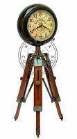 "Nautical Maritime 18"" Antique Brass Table Desk Clock With Wooden Tripod Stand"