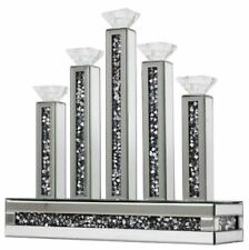Stunning Glass Mirror Diamond Crystal Silver 5 Candle Holder Centre/perfect Gift