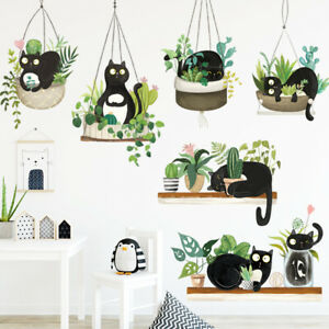 Potted Cactus Wall Sticker Black Cat Decal Baby Nursery Room Decor DIY Gift