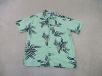 Columbia Button Up Shirt Adult Large Green Blue Floral Camp Outdoors Mens B58*