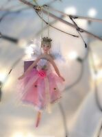 Gisela Graham Christmas Vintage Pink Fairy Princess Resin/Fabric Tree Decoration