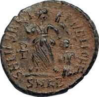 VALENTINIAN II Ancient 388AD Antioch Roman Coin Staurogram VICTORY ANGEL i67129