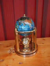 "Blue Enameled Gemstone 6"" Globe Brass Clock/Thermometer/Hygro Home Decor NICE!"