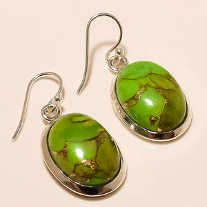 7.90 Gm Copper Turquoise Cab Stone Earing 925 Sterling Silver Fine Earring S-193