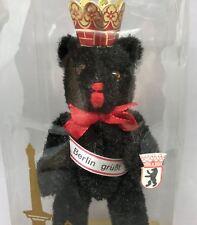 Berlin Bear 6in Souvenir Vtg Berliner Bar Black Plush Boxed Crown Sash Sealed