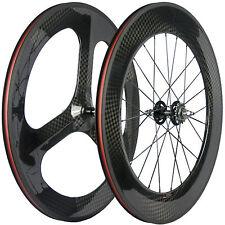 Front 3 Spoke Wheels Rear 88mm Carbon Track Bike Wheelset 12K Fixed Gear Wheel